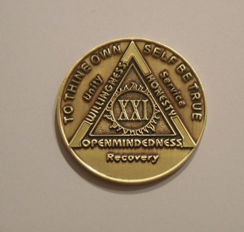 aa bronze alcoholics anonymous 21 year sobriety chip coin token medallion