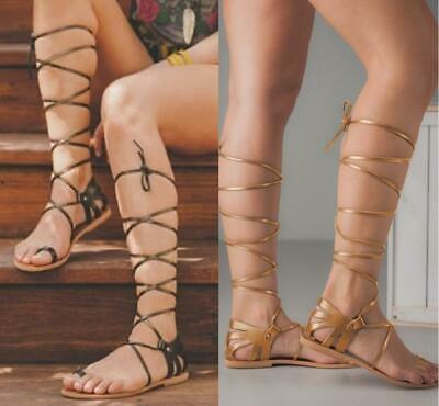 Women's Sandals Shoes Toe Ring Lace up Flats Cross Straps Roma Holiday Beach Hot ()