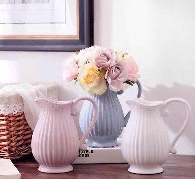Kanne Karaffe Blumenvase Vase Milchkrug rosa weiß grau (Weiße Keramik-vasen)