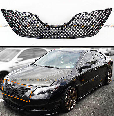 FOR 2007-09 TOYOTA CAMRY GLOSSY BLK JDM 3D DIAMOND FRONT HOOD MESH GRILL GRILLE