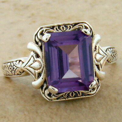COLOR CHANGING LAB ALEXANDRITE ANTIQUE DESIGN .925 SILVER RING SIZE10,      #498