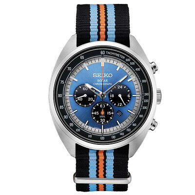 New Seiko Solar Recraft Chronograph Blue Dial Nylon Strap Mens Watch Ssc667