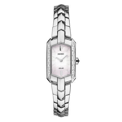 Seiko Women's Solar Square Stainless Steel 14 Diamonds MOP Dial Watch SUP329