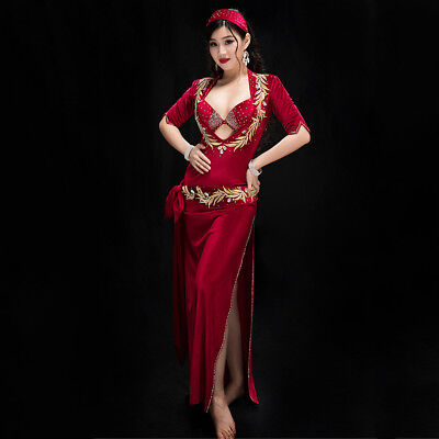 Nightgown Dance Costume (2018 Oriental Professional Belly Dance Costumes Bra+Gown+Belt+Shorts+Head Band)