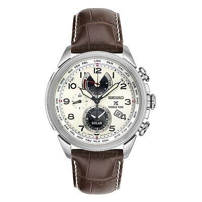New Seiko Prospex Solar World Time Chronograph Leather Strap Mens Watch Ssc509