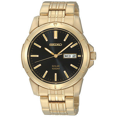 Seiko Sne100 Mens Dress Solar Black Dial Day Date Gold Tone St  Steel Watch