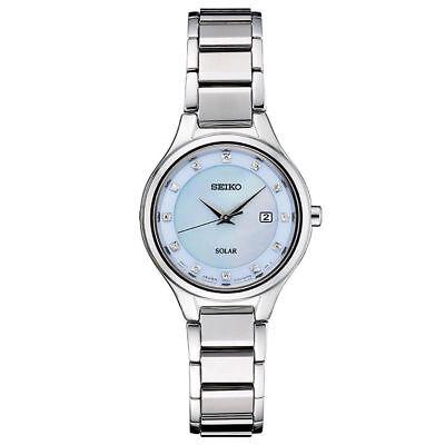 Seiko Women's Solar Diamond Silver Tone Stainless Steel Bracelet Watch SUT351