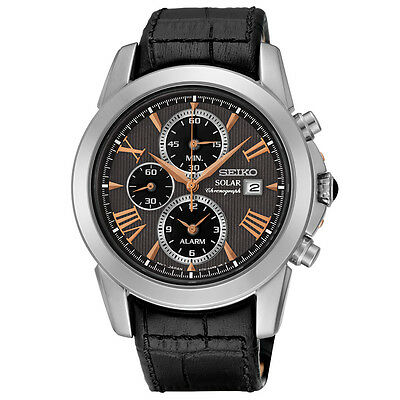 Seiko SSC379 Le Grand Sport Chronograph Men's Black Leather Strap Watch