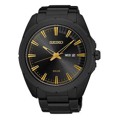 Seiko Men's SNE417 Recraft Solar Quartz Movement Black Stainless Steel Watch