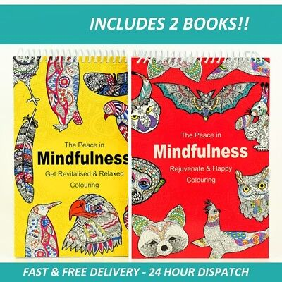 2 BOOKS ADULT COLOURING Book Spiral Mindfulness Relaxing Anti-Stress 90 Patterns