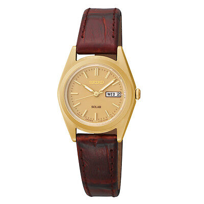 *BRAND NEW* Seiko Women's Champagne Dial Brown Leather Strap Gold Watch SUT120