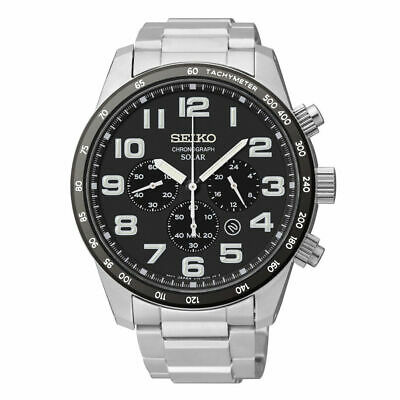 - Seiko Men's Tachymeter Chronograph Black Dial Stainless Steel Watch SSC229
