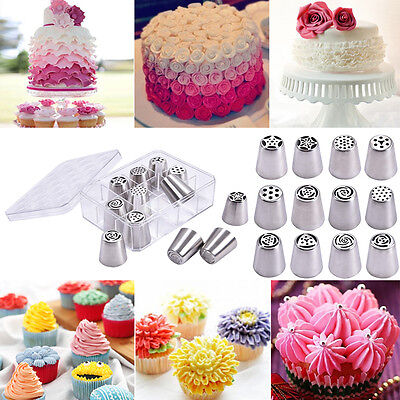 12Pcs Russian Stainless Nozzles Tips Cake Decorating Pastry Baking Tools W  Box