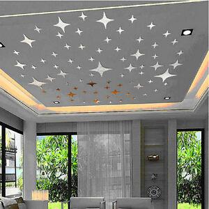Spiegelsticker 43 Stück Sterne Sticker Wanddeko Spiegel Effekt Wandaufkleber NEU
