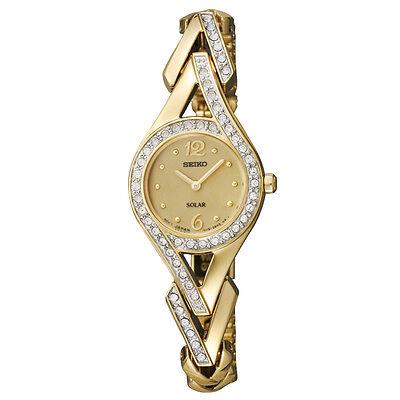 NEW Seiko Women's Solar SUP176 Gold-Tone Steel Diamonds Swarovski Crystal Watch