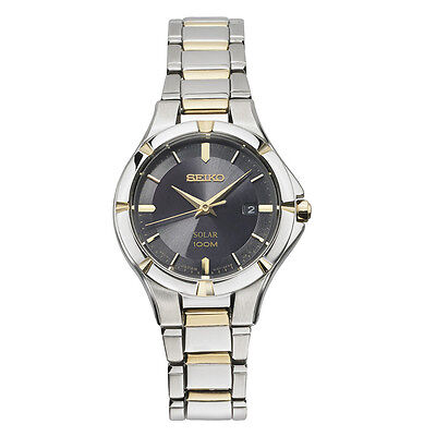 *BRAND NEW* Seiko Women's Two Tone Stainless Steel Bracelet Black Watch SUT316