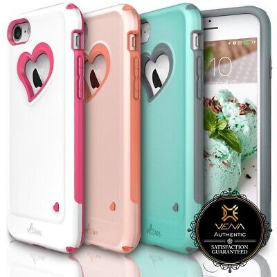 For iPhone 8 7 Vena【vLove】Heart-Shape Hybrid Dual Layer Case Cover Girl Cute