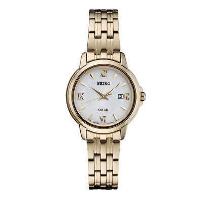 Seiko Women's Gold Tone Stainless Steel Solar Powered Watch SUT350