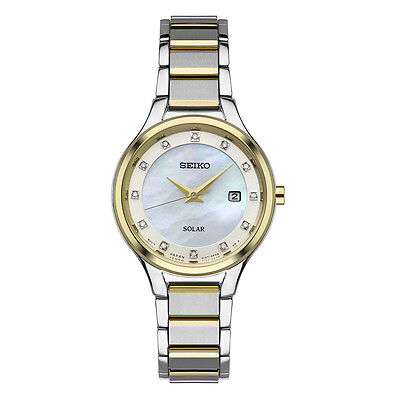 *BRAND NEW* Seiko Women's Diamond Accent Two Tone Silver Steel Watch SUT318