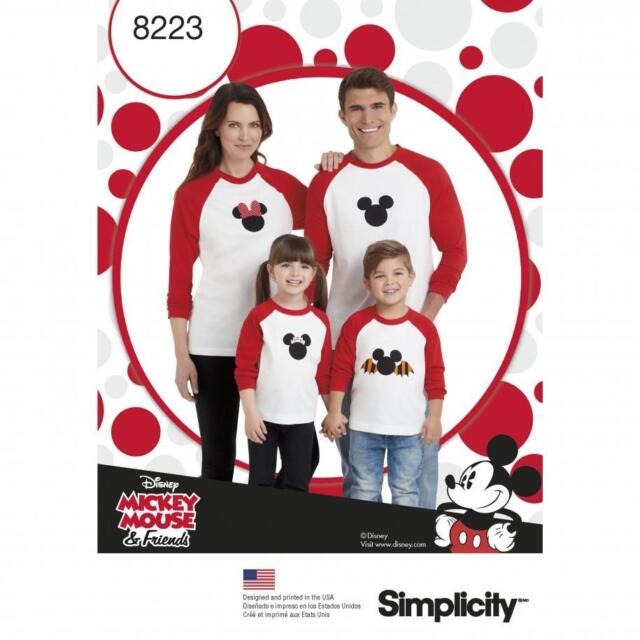Simplicity SEWING PATTERN 8223 Adults & Childs Mickey & Minnie Mouse Top