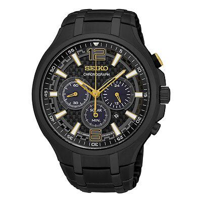 Seiko Men's SSC451 Recraft Solar Chronograph Black Stainless Steel Watch