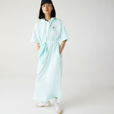 Lacoste Women's Hooded Organic Cotton Piqué Polo Dress with belt, Turquoise, L