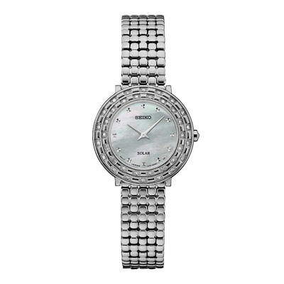 Ladies Seiko Solar Tressia Silver Stainless MOP Dial 36 Diamonds Watch SUP373