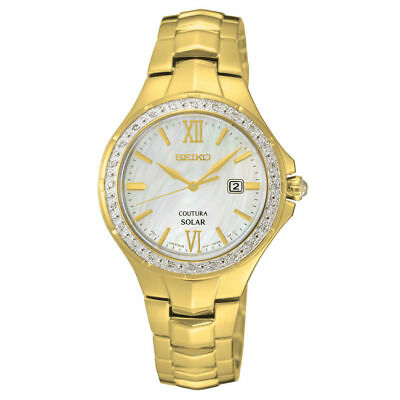 Seiko Women's COUTURA MOP Dial Diamond Bezel Gold Tone Solar Watch SUT242