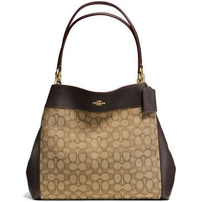 - Coach F27579 IMC7C Lexy Khaki Brown Signature Outline Leather Shoulder Bag NEW