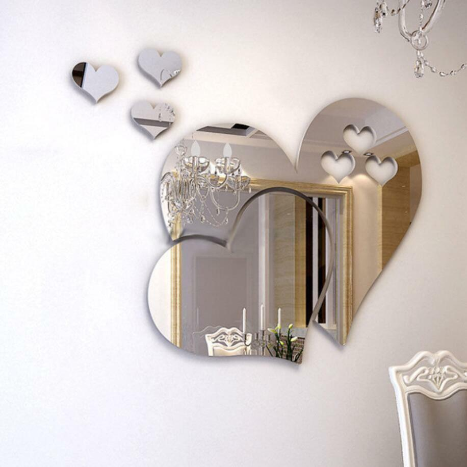 Home Decoration - 3D Mirror Love Hearts Wall Sticker Decal DIY Home Room Art Mural Decor Removable