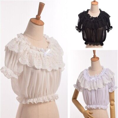- Lolita Girls Puff Sleeve Frilly Blouse Chiffon Lace Bottoming Tops Shirt