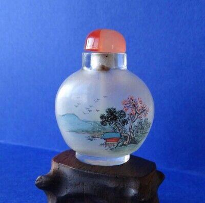 """snuff bottle painting inside tabatière chinoise en verre """"peinte a l'intérieur"""""""