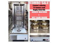 CANMAC 4 BURNER DONER KEBAB MACHINE NATURAL GAS,4 POT WET BAIN MARIE COMBO SALE
