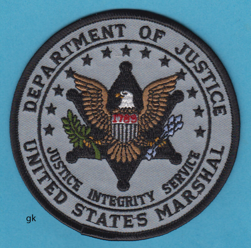 """DEPARTMENT OF JUSTICE US MARSHAL SHOULDER PATCH GRAY 4"""""""