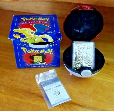 Burger King Pokemon Gold Plated CHARIZARD Card, Pokeball & Box (Nintendo, 1999)