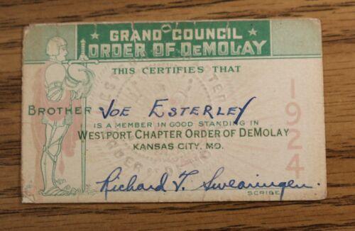Demolay 1924 Membership Card - Westport Chapter Kansas City MO