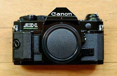 Canon AE-1 Program Rare Black body SLR Film Camera - Excellent / Film Tested A+