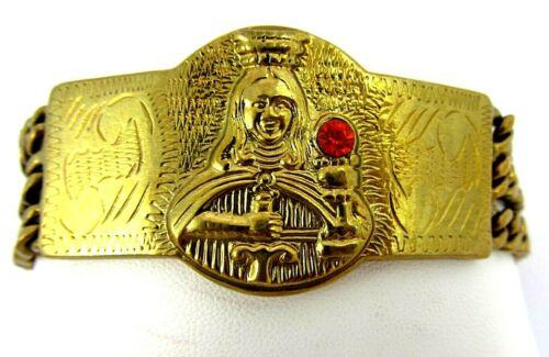 "Vintage Santa Saint Barbara w/ Crown Dagger & Chalice Brass Bracelet L-XL 8.5"""