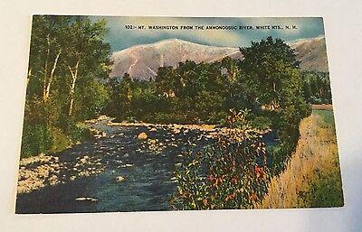Vintage Color Unused Linen Postcard Mt Washington White Mountains New Hampshire