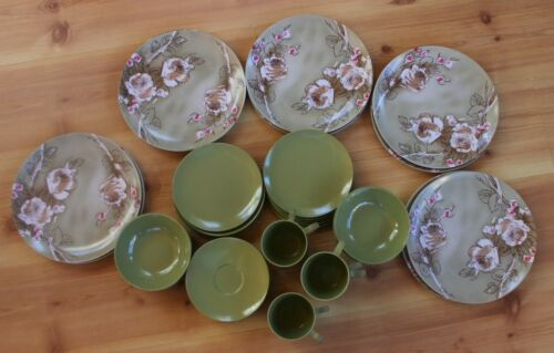 46 Pieces Texas Ware Avocado Green & Green Pink Brown Roses Dinner Plates