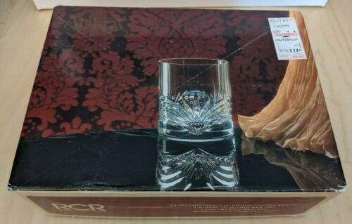 6 Royal Crystal Rock Aurea RCR Double Old Fashioned Whiskey Glasses Tumblers