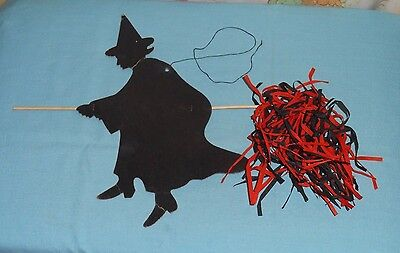 vintage HALLOWEEN WITCH ON BROOMSTICK decoration with tissue-paper broom (Halloween Tissue Paper Decorations)