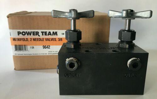 POWER TEAM 9642 MANIFOLD, 2 NEEDLE VALVES, 3/8