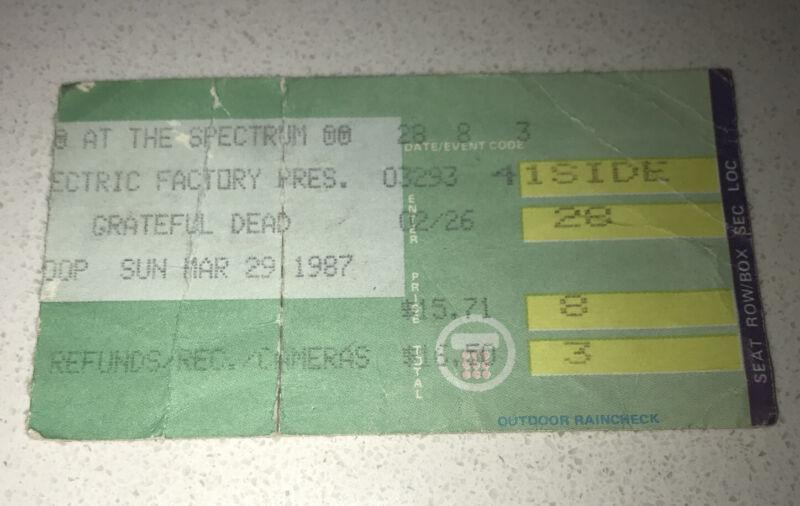 GRATEFUL DEAD @ THE SPECTRUM Philadelphia Concert Tix USED Ticket Stub 3/29/1987