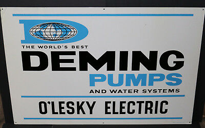 NOS vintage A-M Inc. 1963 Deming Pumps O'Lesky Electric Kingsford MI metal sign