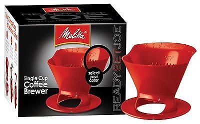 Melitta 64008 Ready Set Joe Single Cup Coffee Brewer Red with Filters  (Coffee Filters Melitta Single Cup)