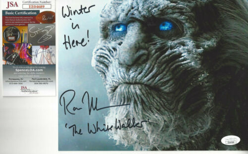 Game of Thrones White Walker Autographed 8x10 Winter is Coming close up JSA
