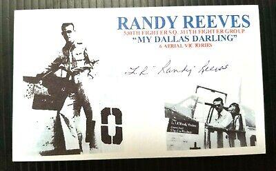 RANDY REEVES WW2 530th FS 311th FG ACE 6 KILLS P-51 AUTOGRAPHED 3X5 INDEX CARD