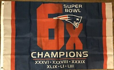 New England Patriots 6X Super Bowl Champs 3X5 Flag Gray Sided Banner LIII - Patriots Banner