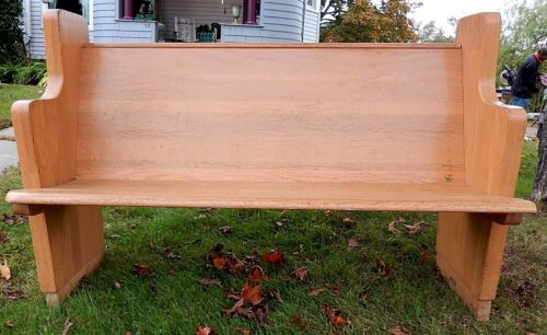 "Nice Vintage Solid Oak Church Pew - 55"" LONG - All Good"